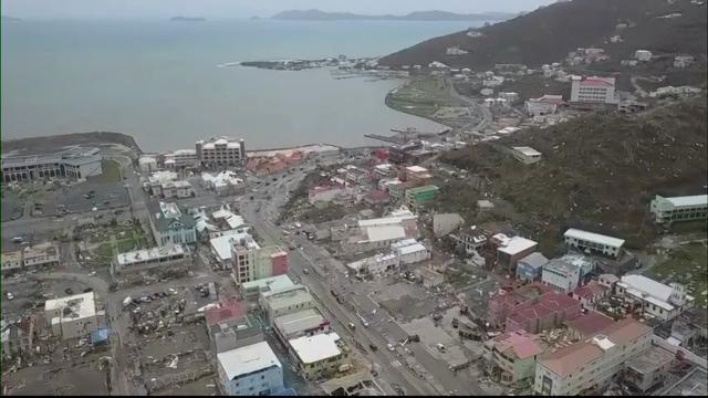 Raw: Drone footage shows devastation on Tortola