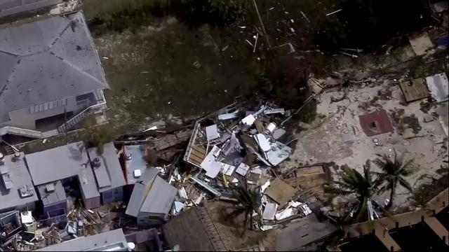 Helicopter surveys damage in Key West, Fla.