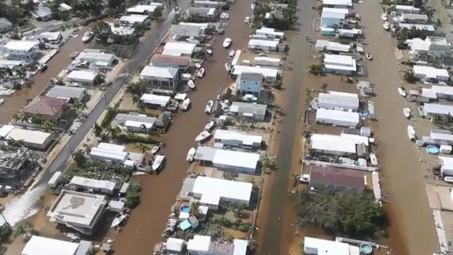 Aerial tour shows damaged buildings in Key Largo