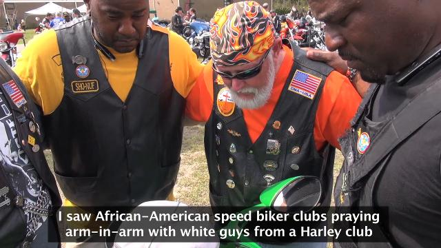 Black and white biker clubs unite in hugs, prayers in deep South