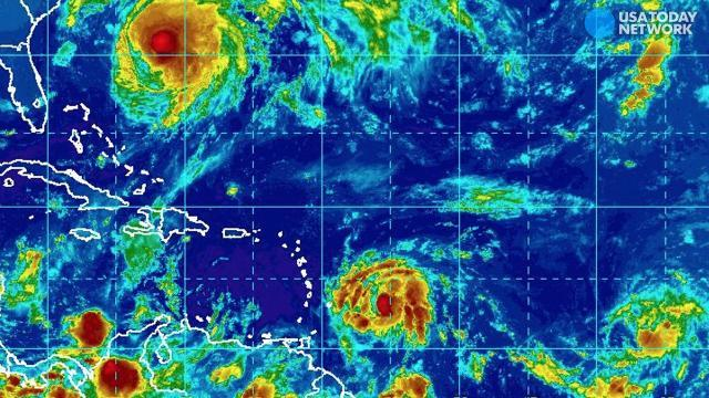 Three storms churn in the Atlantic