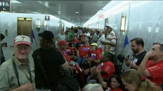 Hundreds protest GOP health bill outside hearing