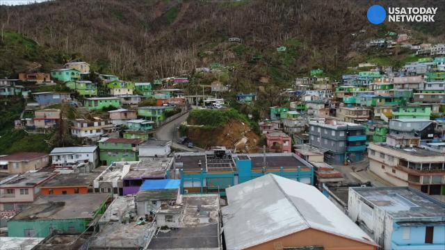 Drone footage shows aerial views of Naranjito, Puerto Rico after Hurricane Maria