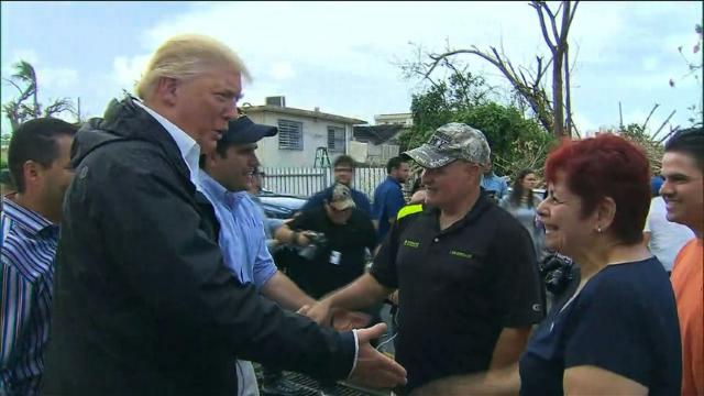 Trump meets hurricane victims in Puerto Rico