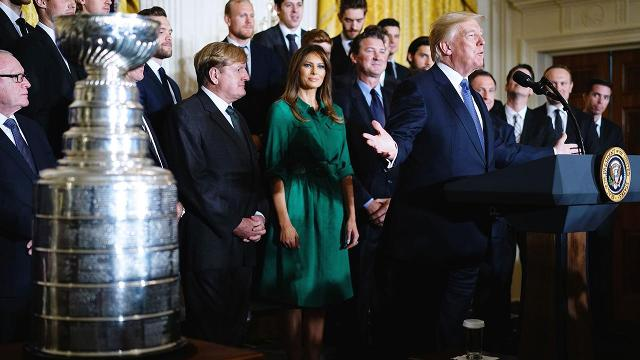 The Pittsburgh Penguins, defending back-to-back Stanley Cup champions, were honored by President Trump during a visit to the White House on Tuesday.