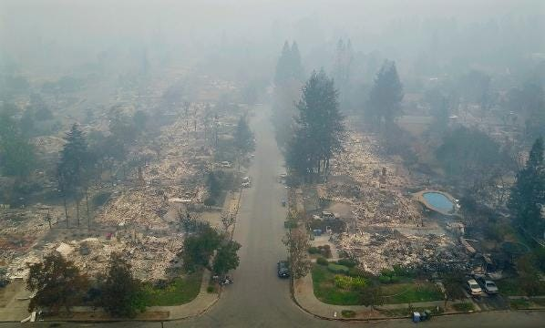 Drone video shows wildfire devastation in California