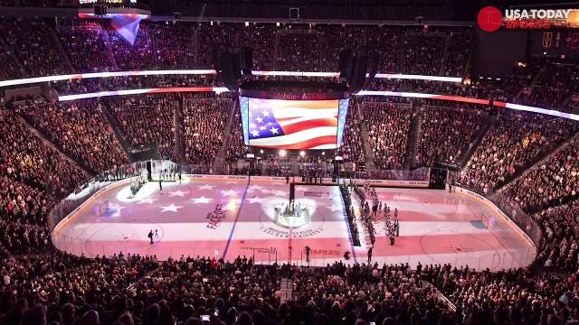 The Vegas Golden Knights played their first-ever home game on Tuesday and honored the victims of mass shooting.