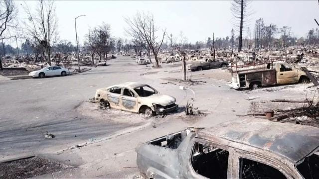 Drone images from fire-ravaged California