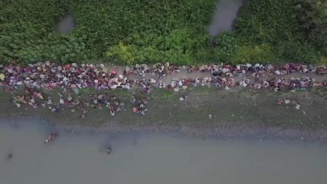 Raw: Drone Video Shows Rohingya Fleeing Myanmar