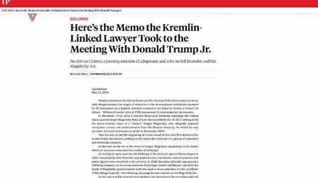 Leaked memo: Russian Lawyer in Trump, Jr meeting may be Kremlin agent