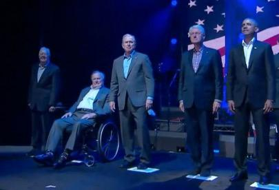 All five living ex-presidents come together for hurricane relief