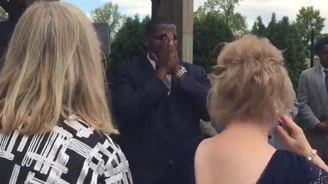 Groom overwhelmed at the sight of his bride