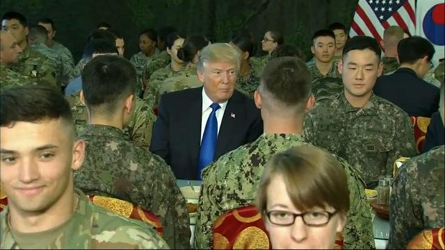 Raw: Trump has lunch with U.S., South Korean troops