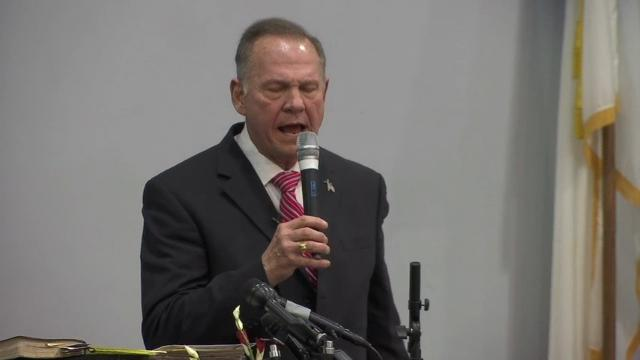 Roy Moore speaks to his evangelical base