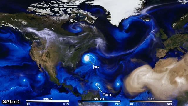 Atlantic hurricanes and tropical storms this year picked up tiny aerosols in their swirling winds. The aerosols included dust from the Sahara Desert, smoke from massive fires in North America and sea salt from the ocean.