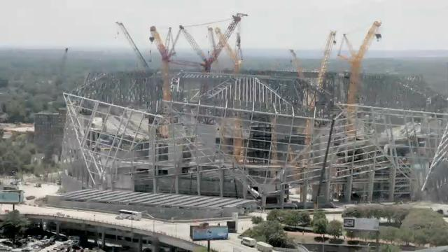 This time-lapse video shows Mercedes-Benz Stadium rising from the ground to become the newest addition to the Atlanta skyline. The AP used photos shot from a nearby high-rise showing the construction over a period of more than two years. (Nov. 17)