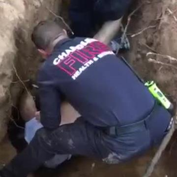 Rescuers save dog after unusual chase