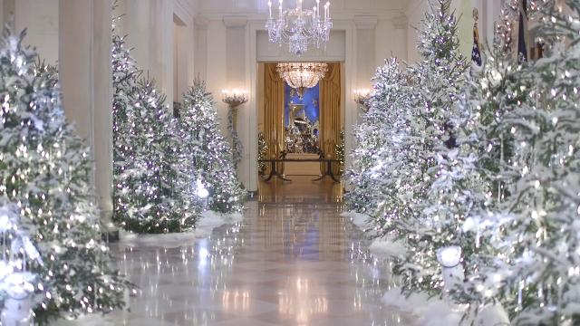Melania Trump went a more traditional route for her family's first Christmas in the White House. The decor includes 71 wreaths, 53 Christmas trees, more than 18,000 lights, and more than 12,000 ornaments!
