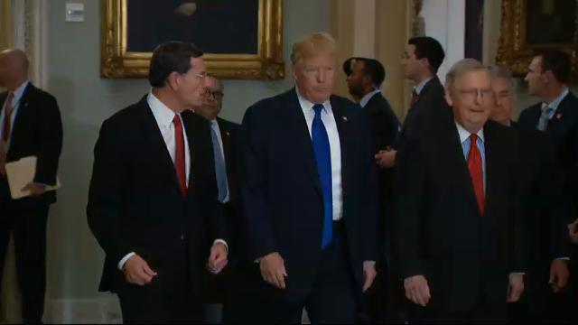 Trump Arrives at Capitol to Meet GOP Senators