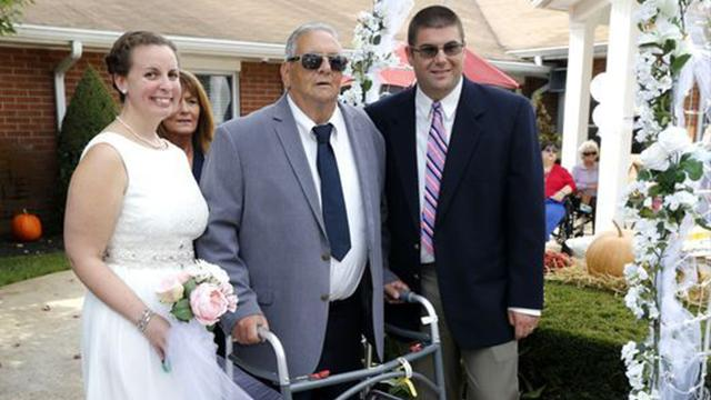 Son's surprise wedding moves terminally ill dad to tears