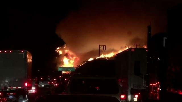 Motorists witness wildfire near L.A. freeway