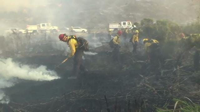 Highway travel disrupted by Calif. wildfire