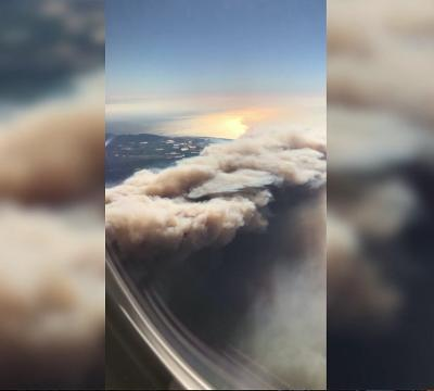 Wildfires blazing in SoCal seen from plane