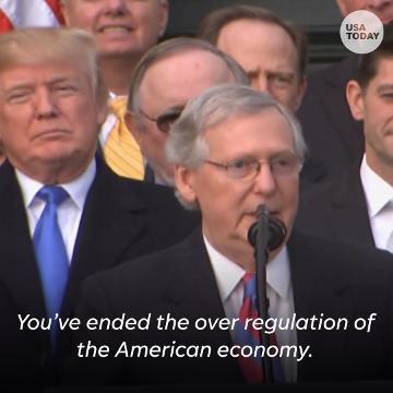 Trump, Republican leaders celebrate tax victory