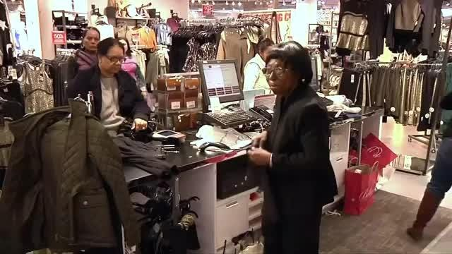 Shares of U.S. department stores jumped on Tuesday after Mastercard said shoppers spent record $800 billion during the season. On Wednesday, some of that surge was gone. Elly Park reports. Video provided by Reuters