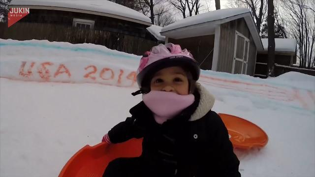 This backyard ice luge puts sledding to shame