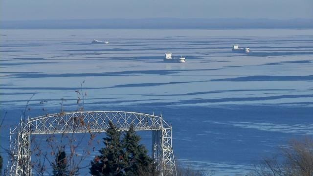 Raw: Ice forms on Duluth Harbor in extreme cold