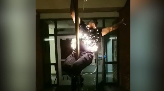 Anniston, Alabama's fire department put their own twist on Times Square's New Year's celebration. Firefighter Christopher Wilkerson gracefully slid down the firehouse poll wrapped in Christmas lights in perfect synchronization with the countdown.