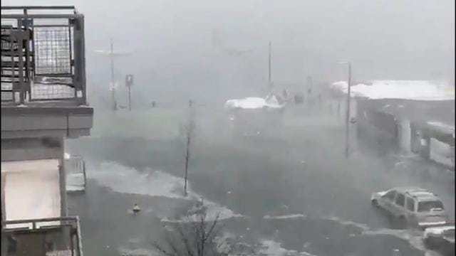 Cars trapped in water, roads submerged in Boston
