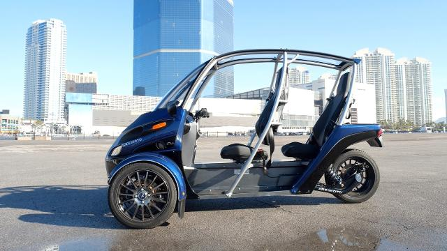 The Arcimoto is a three-wheeled electric vehicle that tops out at 80 MPH—and can travel up to 130 miles on a single charge.