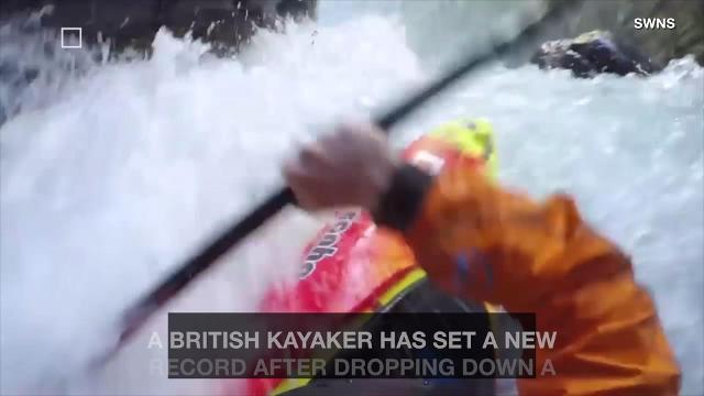 Amazing video as kayaker descends a 128-foot waterfall