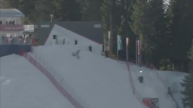 Austrian takes on Hahnenkamm downhill on his bike