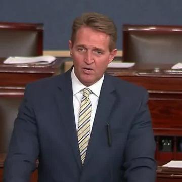 Sen. Jeff Flake skewered President Trump in a speech on the Senate floor, warning fellow members of Congress against adding to the danger.