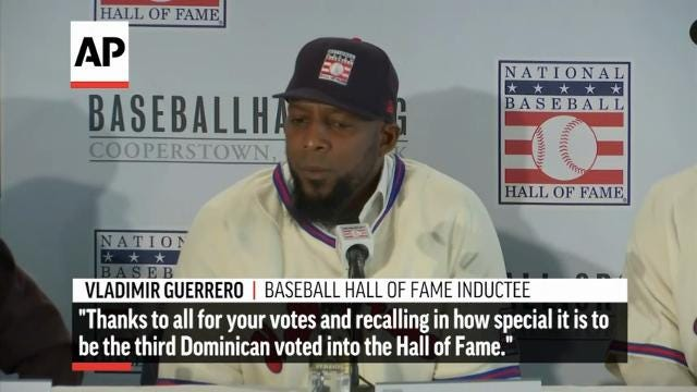 Chipper Jones, Jim Thome, Vladimir Guerrero and Trevor Hoffman reflected on their election as the newest members of the Baseball Hall of Fame at a news conference on Thursday. (Jan 25)