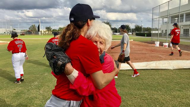 Baseball's earliest female trailblazer brings the heat to young talent