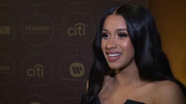Rapper Cardi B says all she's thinking about is winning an award at the Grammys, and looks forward to performing. (Jan. 27)
