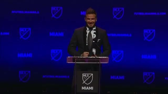 David Beckham takes to stage to announce his new Major League Soccer franchise in Miami. Video provided by Reuters