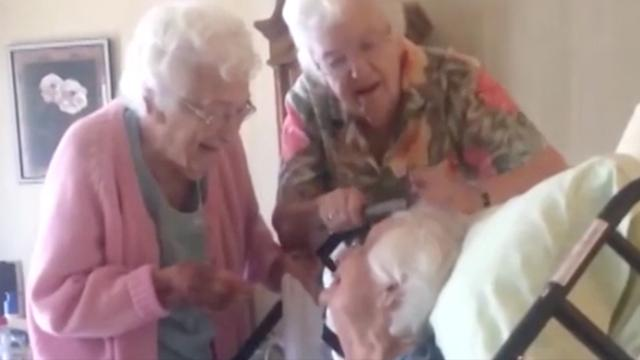 Grandma receives TLC from her loving sisters