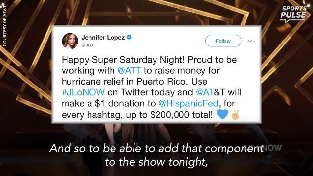 Jennifer Lopez uses Super Bowl to raise awareness for Puerto Rico