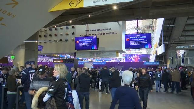 """Giddy fans who braved the frigid cold in Minneapolis crowded into U.S. Bank Stadium. Eagles fans filled the air inside chanting """" E-A-G-L-E-S, Eagles!"""" (Feb. 4)"""