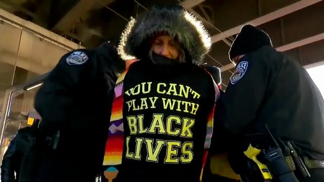 A Metro Transit spokesman says 17 people taken away after blocking a light-rail line carrying ticket holders to the Super Bowl in Minneapolis have been cited and released. (Feb. 4)