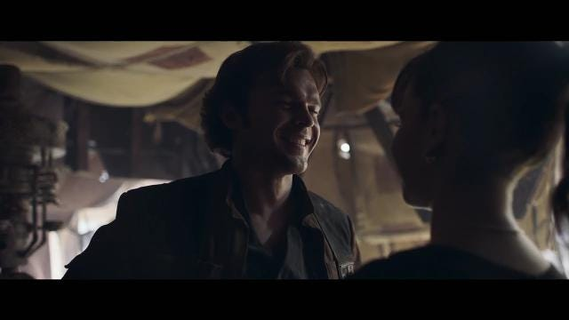 Alden Ehrenreich stars as young Han Solo and Donald Glover plays Lando Calrissian in 'Solo: A Star Wars Story.'