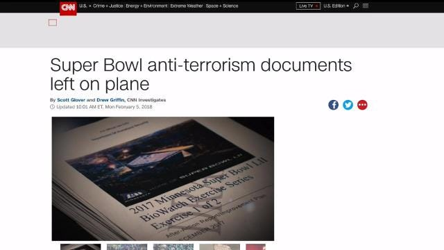 National security Super Bowl anti-terrorism Documents left on plane