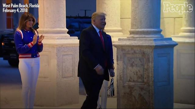 WATCH: Trump skips Super Bowl National Anthem, greets cheerleaders