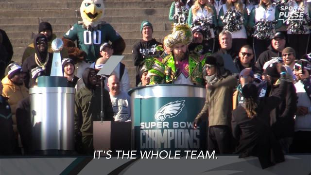 SportsPulse: During the Eagles' Super Bowl parade, Jason Kelce delivered a championship speech that will go down as one of the best ever. Watch and enjoy.