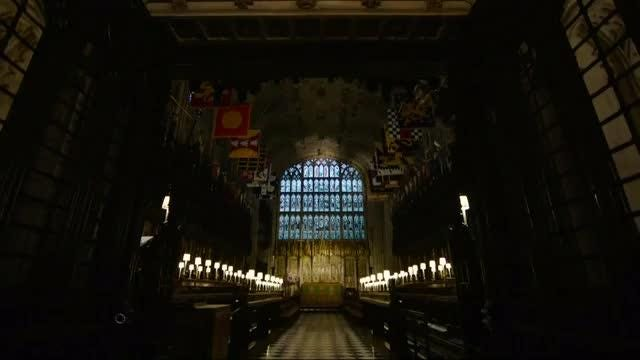 A peek inside historic St George's Chapel where Britain's Harry will marry Meghan Markle in May. Rough Cut (No reporter narration) Video provided by Reuters